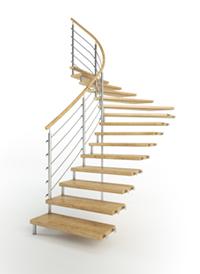 Holztreppe Bolzen mit Edelstahlgeländer